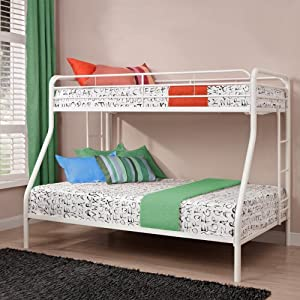 Dorel Home DHP Ambrose Twin over Full Bunk Bed, White, Metal, Twin Over Full