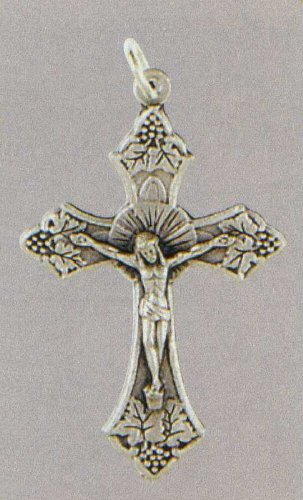 Small Crucifix - Fleur De Lis Cross - Pendant - 1in. Height - IMPORTED FROM ITALY