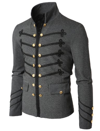 Doublju Mens Jacket with Button Detail