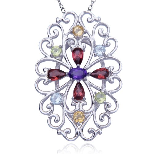 Sterling Silver Multi-Gemstone Flower Pendant Necklace , 18