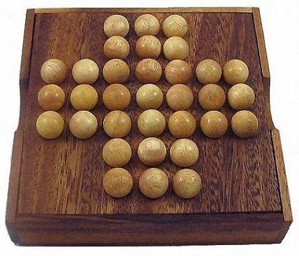 Solitaire Marble Wooden Brain Teaser Game - 1