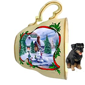 Rottweiler Christmas Ornament Holiday Scene Tea Cup