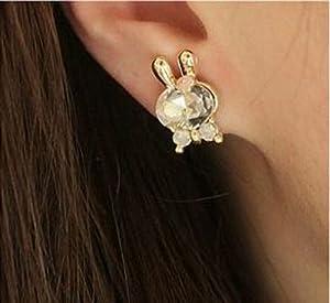 Cute Diamond Small Bow Rabbit Earrings White By U-Beauty