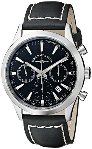 Zeno-Mens-6662-7753-G1-Vintage-Line-Stainless-Steel-Automatic-Watch-with-Black-Leather-Band