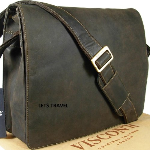 Visconti unisex brown hunter leather messenger man bag Style 18548