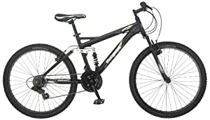 Mongoose Mens Status 2.2 Full Suspension Bicycle (26-Inch Wheels), Matte Black,... by Mongoose