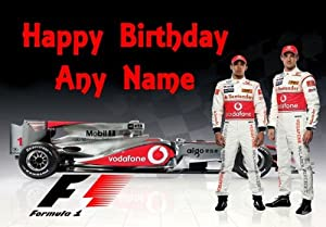 Jensen Button & Lewis Hamilton Formula One Personalised Birthday Card by Party Animal Print
