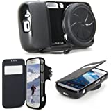 GMYLE (R) Black Zoom TPU Flip Folio Cases with Lens Cover and GMYLE brand logo for Samsung Galaxy S4 Zoom