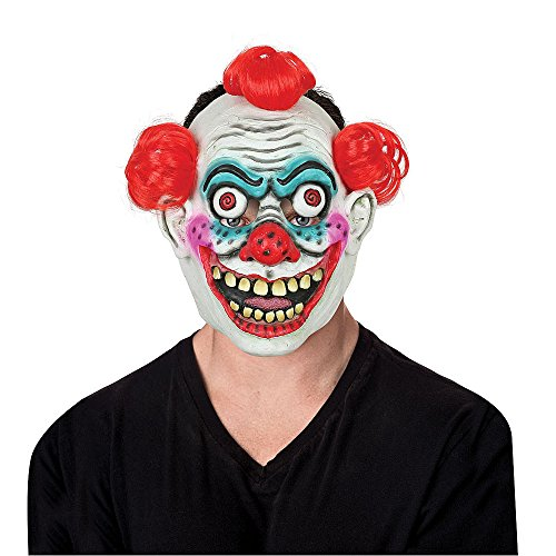 Totally Ghoul Red Hair Creepy Clown Mask Halloween Accessory