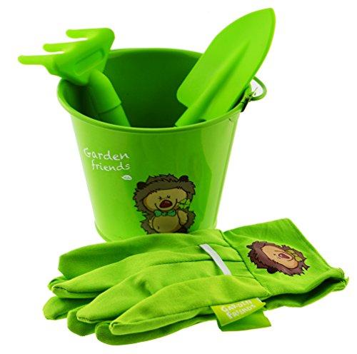 Gardening 4pieces kids tool set gloves trowel cultivator for Ladies garden trowel set