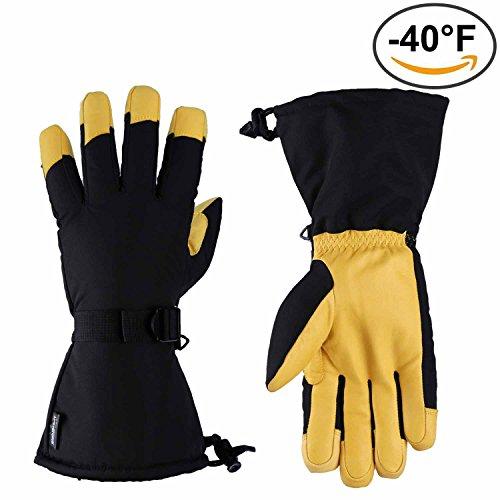 OZERO Winter Thinsulate 3M Cotton Cold-resistant Cowhide Ski Gloves
