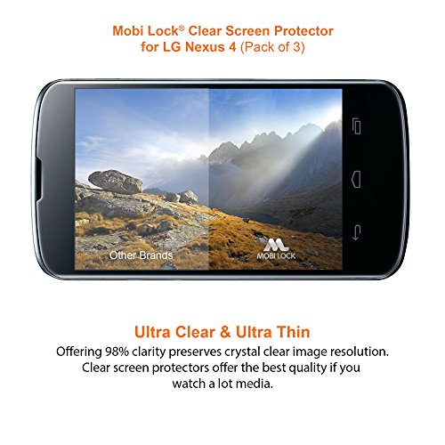 Google / LG Nexus 4 Clear Screen Protector (Pack of 3) - by Mobi Lock?