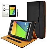 New Asus Google Nexus 7 FHD 2013 (ALL Model Versions, Android 4.3) PREMIUM BLACK & TAN Interior Multi-Function Leather Case / Cover / Typing & Viewing Stand / Flip Case With Magnetic Sleep Sensor & InventCase® Screen Protector Shield Guard & Nexus 7 FHD