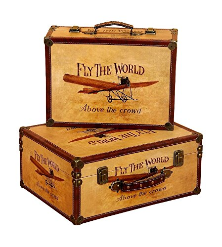 Vintage Small Suitcase Boxes Airplane Designs Leather Metal Latches Décor 72767 front-760238