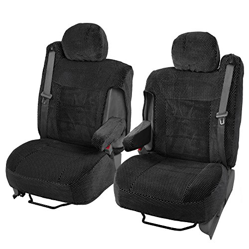 Scottsdale Cloth Front Seat Covers for Trucks SUV Integrated Armrest TS (Black) (Gmc Yukon Seat Covers compare prices)