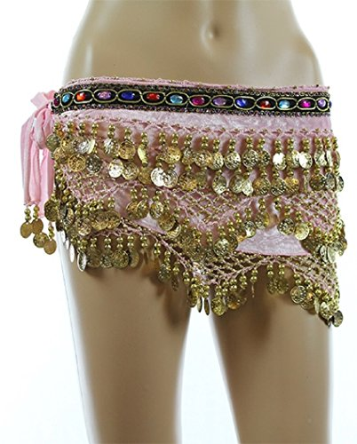 Pink Gold Coins Velvet Rave EDC Belly Dance Skirt Hip Scarf Costume Size 193 coins