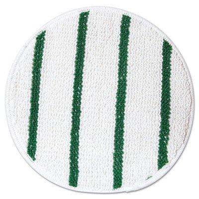 "Rubbermaid Commercial Low Profile Scrub-Strip Carpet Bonnet, 17"" Dia, White/Green front-611232"
