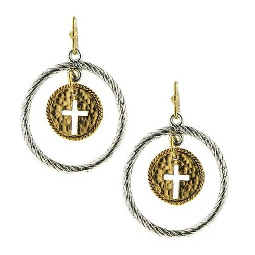 1928 Cross Dangle Hoop Earrings