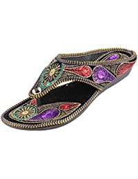 CraftCor Womens Multi-color Rajasthani Wedges Heels Slippers Designer Zari Work