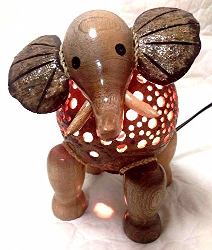 Elephant Lamp Wooden New Table Coconut Shell Asian Night Light Gift Home Decor