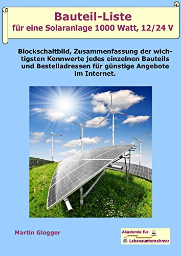 bauteil liste f r eine solaranlage 1000 watt 12 24 volt. Black Bedroom Furniture Sets. Home Design Ideas