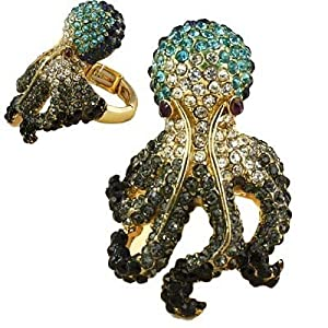 Oversized Gold-tone with Multi Colored Turquoise Crystal Rhinestones Pave Octopus Stretch Ring Fashion Jewelry.
