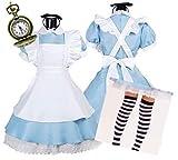 ( ジャパナイス ) JapaNice 不思議の国のアリス 風 メイド服 衣装 5点セット[懐中時計 ニーソ ワンピース エプロン カチューシャ] コスチューム XXLサイズ BF478-1