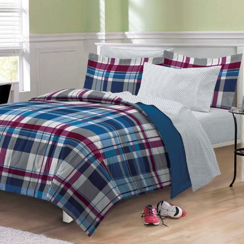 My Room Varsity Plaid Ultra Soft Microfiber Comforter Bedding Set, Multi-Colored, Twin