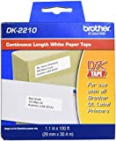 "Brother DK-2210 Continuous Length Paper Label Roll (1-1/7"" Wide) - Retail Packaging"