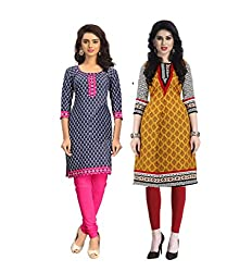 Vaamsi Women's PolyCotton Unstitched 2 Kurti Fabric(CKF1038_Multi-Coloured_Free Size)