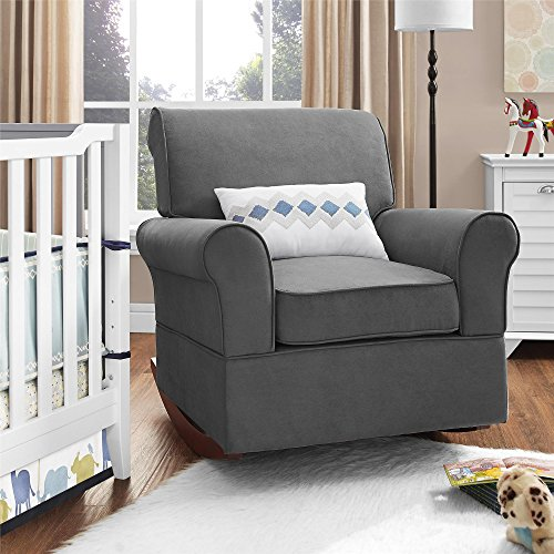 Dorel Asia The Mackenzie Microfiber Plush Nursery Rocker Chair, Grey - 1