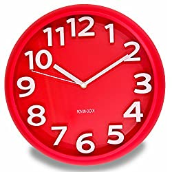 JustNile 3D Modern Contemporary Wall Clock - 12 Round Red