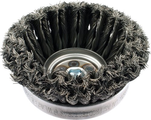 """PFERD 82553 Combitwist Double Row Power Knot Cup Wire Brush with External Nut, Threaded Hole, Carbon Steel Bristles, 4"""" Diameter, 0.023"""" Wire Size, 5/8""""-11 Thread, 9000 Maximum RPM"""