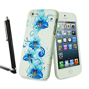 Apple iPhone 5 5S Stylish Flower Floral Silicone Case Butterfly Gel Skin Cover + Screen Protector + Stylus (Blue Flower)