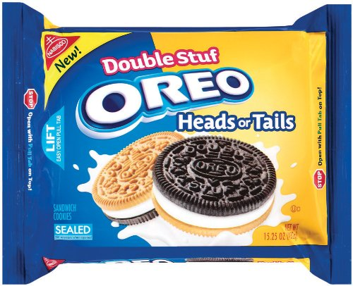 Oreo Heads or Tails, Double Stuffed Sandwich Cookies, 15.25-Ounce Packages (Pack of 4)