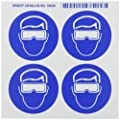 "Brady 58528 Right-To-Know Pictogram Labels , Blue On White,  2-1/4"" Width x 2-1/4"" Height,  Pictogram ""Safety Goggles"" (4 Per Card,  1 Card per Package)"
