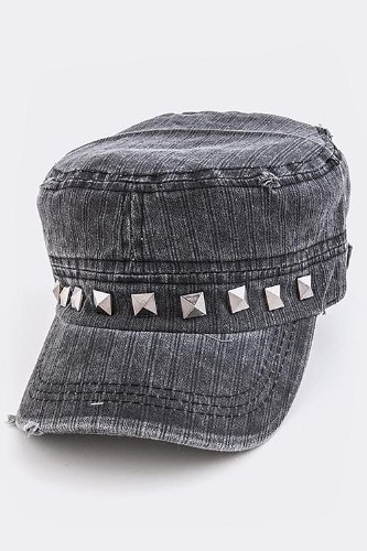 [TRENDY FASHION STUD VINTAGE MILITARY CAP BY FASHION DESTINATION | (Dark Grey)] (Dallas Wholesaler Costumes Jewelry)