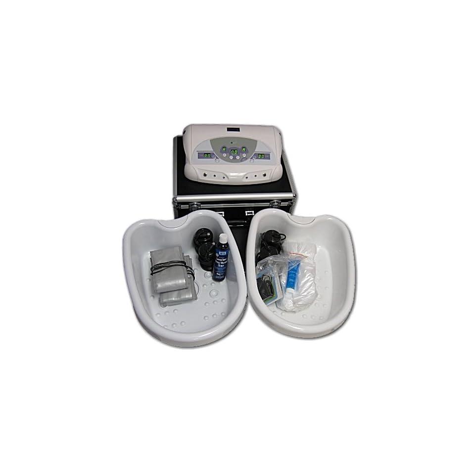 FB101E Dual Ionic Detox Foot Bath System Case 2 Tubs Liners Trace Mineral Drops