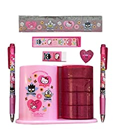 Hello Kitty Beautiful Stationery Set School Supply with Pen Holder and Compartments