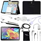 DigitalsOnDemand ® 10-Item Accessory Bundle Kit for Samsung Galaxy Tab Pro 12.2 and Galaxy Note Pro 12.2 - Standing Slim Black Leather Case, Ultra Clear HD Glass Screen Protector, 2-in-1 Touch Stylus Ink Pen, USB Sync 3.0 Cable, Car Charger Adapter, Earphones, Earbud Splitter, Micro 3.0 USB OTG, Auxiliary Sound Cable, Drawstring Travel Pouch Bag