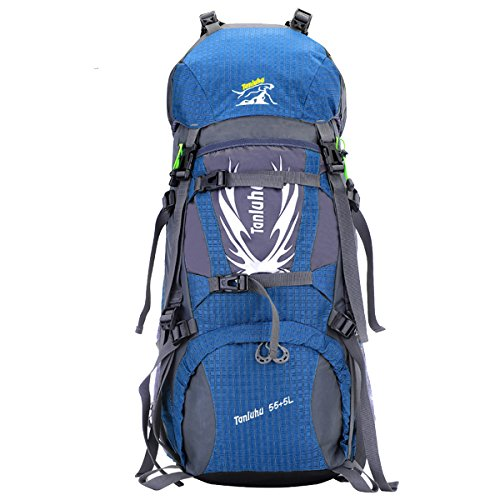 Zerd 60L Internal Frame Backpack With Rain Cover Blue