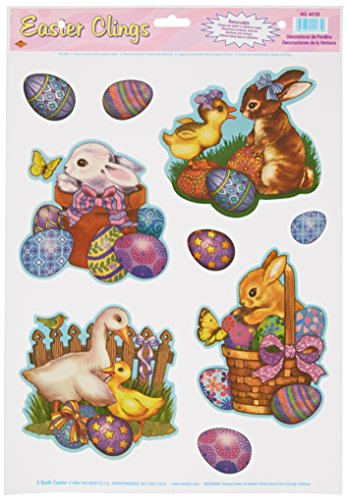 Easter Animal Clings (5 Easter eggs included) Party Accessory  (1 count) (4/Sh)