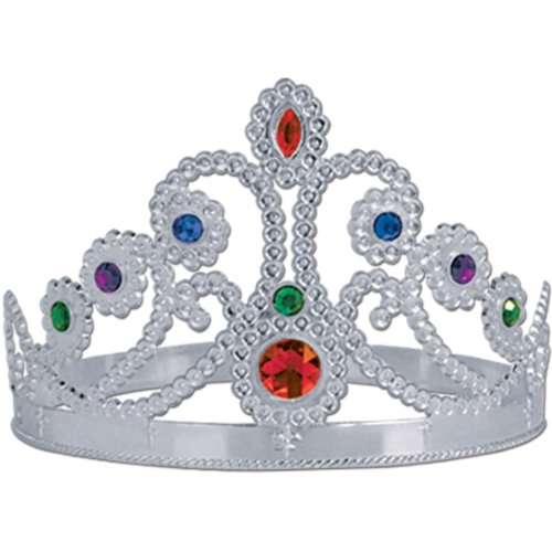 Plastic Jeweled Queen's Tiara (silver) Party Accessory  (1 count) (1/Pkg) - 1