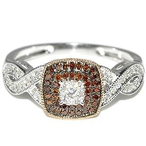 Coganc and White Diamond Engagement Ring 0.25ct 10K White gold
