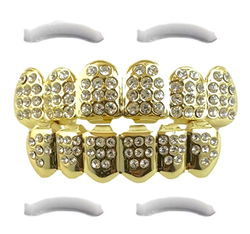 14K Gold Plated Iced Out Grillz with CZ Diamonds - Top and Bottom Set + 2 EXTRA Molding Bars Included (Amazon Try Prime compare prices)