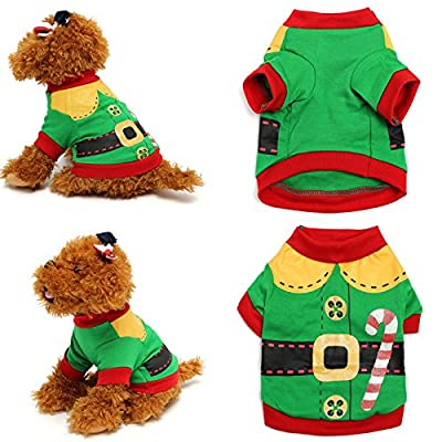 Doggie Style Store Green Elf Christmas Xmas Vest Dog Pet Cat T-Shirt Top Shirt - 4 Sizes