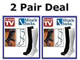 2 PAIRS Miracle Socks As Seen ON TV Anti-Fatique Compression Socks UNISEX Black Size L/XL (Womens 10-13.5 Mens 10-12.5)