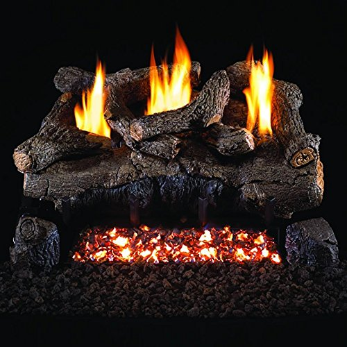 Peterson Real Fyre 18-inch Evening Fyre Log Set With Vent-free Natural Gas Ansi Certified G18 Burner - Electronic Non-standing Pilot And Variable Flame Remote (18 Ventless Gas Logs With Remote compare prices)