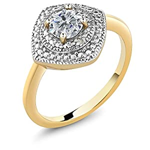 0.50 Ct Round G/H and White Diamond 18K Yellow Gold Plated Silver Ring