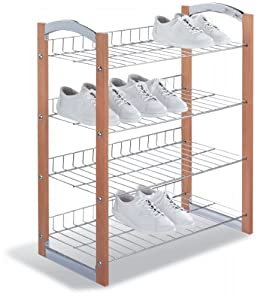 Four Tier Shoe Rack (Chrome/Wood) (28.5